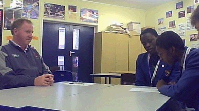 John Fisher teacher Mr Davies is interviewed by School Reporters about his memories of Martyn Rooney