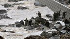 Japan's Self Defence Force members search for missing residents in Takeda, Oita Prefecture, Japan