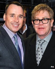 Sir Elton John, with partner David Furnish