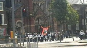 The band playing outside St Patrick's Church in north Belfast