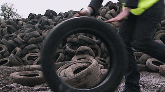 Illegal tyre dump
