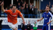 Zdenek Kroca of Luton Town celebrates a goal