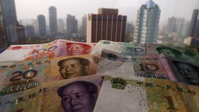 Different values of China's yuan banknotes