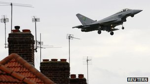 Typhoon comes in to land at RAF Northolt
