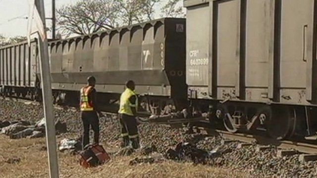 Emergency workers at train