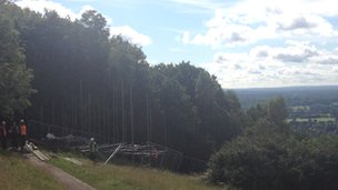 Scaffolding on Box Hill