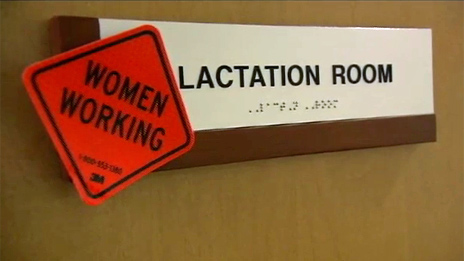 "Door with sight reading ""Lactation room - women working"""