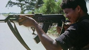 Sri Lanka Tamil rebel with assault rifle (file photo from 1991) 