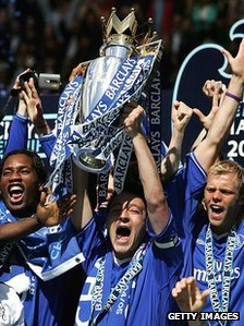 John Terry lifts the Premier League trophy in 2005