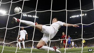 John Terry clears a ball off the line during England&#039;s 1-0 win over Ukraine at Euro 2012