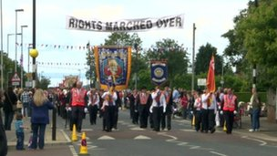 Crumlin Orangemen parade through the village