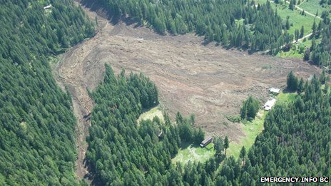 A photo of the Johnson&#039;s Landing landslide