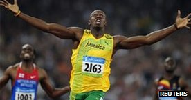 Usaine Bolt at the 2008 Beijing Olympics