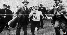 Italian Dorando Pietri wins the 1908 marathon - but was later disqualified