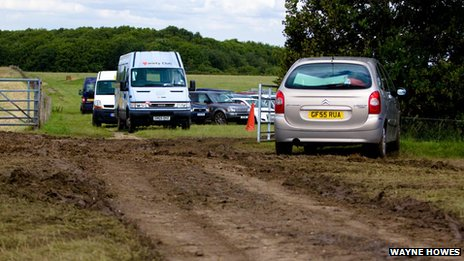 Muddy car parks at the Kent County Show