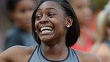 Perri Shakes-Drayton celebrates her 400m hurdles victory