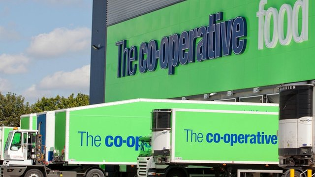 Lorries loading at the Co-op warehouse off the M8