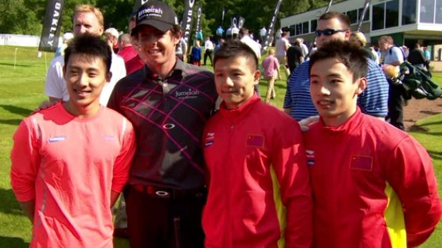 Ror McIlroy met members of the Chinese gymnastics team at his home golf club in Holywood