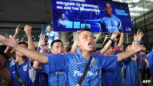Hundreds of fans welcomed Drogba at Shanghai's Pudong airport, 14 July