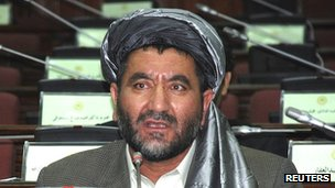 Ahmad Khan Samangani speaking in parliament in Kabul in an undated file photo