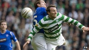 Celtic v Rangers game, action on the pitch