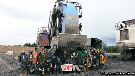 Protesters at open cast mine