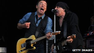 Bruce Springsteen and Steven Van Zandt performing at Hard Rock Calling