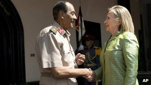 Field Marshal Mohamad Hussein Tantawi and Hillary Clinton, 15 July