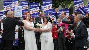 Mock gay wedding outside Holyrood