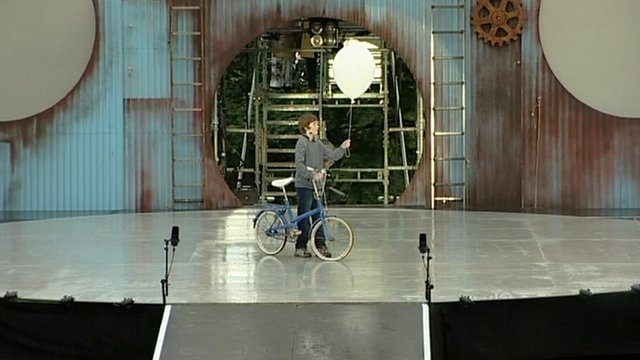 Cycle Song being performed on stage in Scunthorpe
