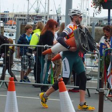 A Guernsey Velo Club member putting out traffic cones