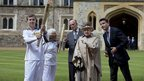 The Queen and Prince Philip with Seb Coe and torchbearers Philip Wells and Gina Macgregor