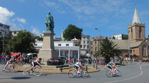 Cyclists racing in St Peter Port