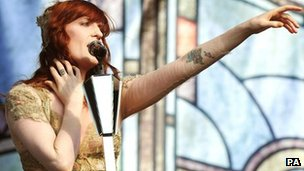 Florence Welch of Florence + The Machine performing at the Radio 1 Hackney Weekend