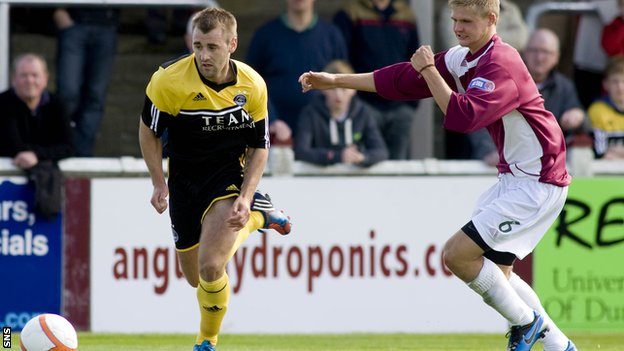 New signing McGinn beats Arbroath's Michael Travis