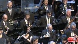 The BBC National Orchestra of Wales playing on Chinese TV