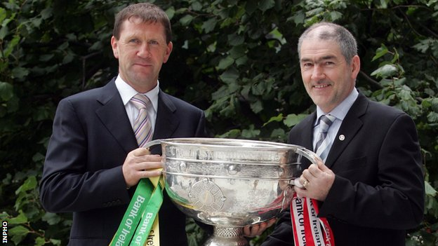 Kerry manager Jack O'Connor and Tyrone boss Mickey Harte
