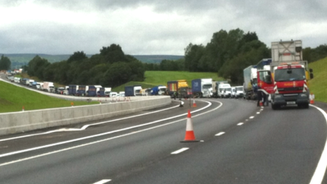 Convoy of vehicles on the Wrexham link road