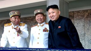 From left: Ri Yong-ho, Choe Ryong-hae and Kim Jong-un