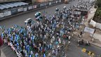 Activists of Jamaat-e-Islami march during an anti-US and NATO rally in Karachi, Pakistan.