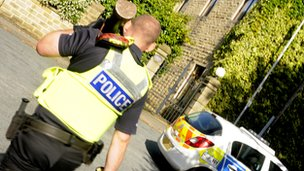 An officer taking part in Operation Sabredale