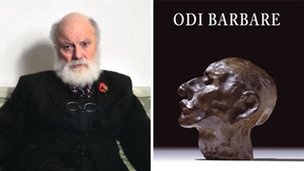 Geoffrey Hill and cover of his poetry book (poet photo by Peter Everard Smith)