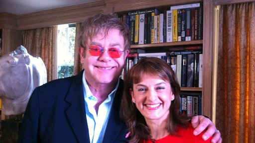 Sir Elton John with the BBC's Rebecca Jones