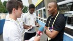 Tom puts a question to athletics legend and BBC commentator Colin Jackson