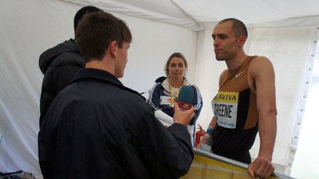 School Reporters with 400m hurdles world champion Dai Greene