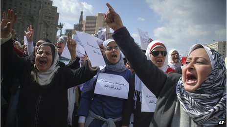 Women protest against Hosni Mubarak government in Egypt (File)