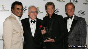 Left-right: Johnny Mathis, Andy Williams, Barry Manilow and Pat Boone at The Society of Singers 17th Annual ELLA Awards in 2008