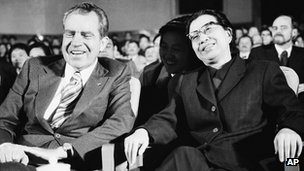 President Richard Nixon and Jiang Qing, wife of Chairman Mao Tse-tung of China