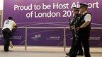 Armed police on patrol at Heathrow