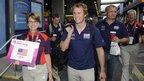 US sailing team members at Heathrow